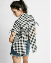 Express Short Sleeve Button Back Check Cotton Shirt