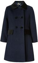 John Lewis Girls' Velvet Collar Coat, Navy