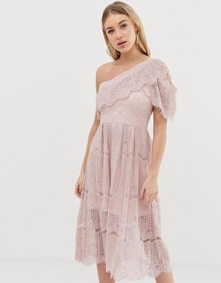 C by Cubic lace one shoulder midi dress