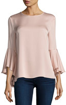 Milly 3/4-Bell-Sleeve Stretch-Silk Blouse, Light Pink