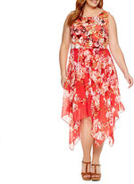 Robbie Bee Sleeveless Handkerchief Hem Floral Sheath Dress-Plus