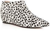 AVEC LES FILLES Women's Beatrice Leopard Print Calf Hair Hidden Wedge Booties