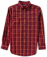 Roundtree & Yorke Silky Finish Long-Sleeve Multi Plaid Sportshirt