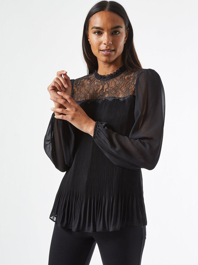 Thumbnail for your product : Dorothy Perkins Pleated Lace Yoke Blouse - Black