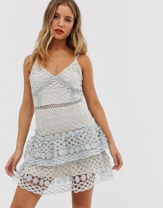 Parisian Layered Lace Midi dress-Cream