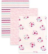 Baby Vision BabyVision® Luvable Friends® 3-Pack Dots Flannel Receiving Blankets in Pink
