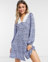 Thumbnail for your product : New Look embroidered collar mini dress in blue ditsy floral