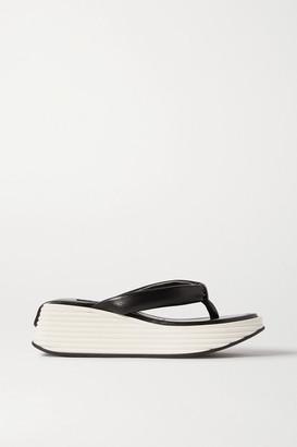 Givenchy Kyoto Leather Platform Flip Flops - Black
