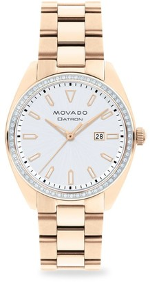 Movado Heritage Series Datron Diamond & Rose Goldplated Stainless Steel Bracelet Watch