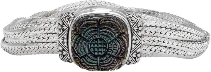 Stephen Dweck Sterling Carved Mother-of-Pearl Clasp Bracelet