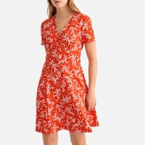 La Redoute Collections Floral Print Flared Mini Dress