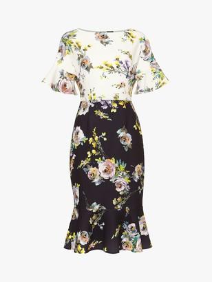 Phase Eight Anita Floral Print Fluted Hem Dress, Multi