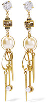 Erickson Beamon Gold-plated, Swarovski Crystal And Faux Pearl Earrings - one size