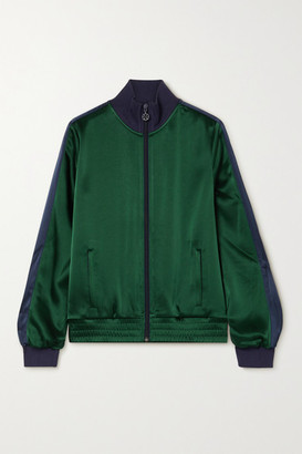 Tory Sport Striped Satin Track Jacket - Dark green