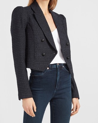 Express Cropped Peak Lapel Double Breasted Boucle Blazer