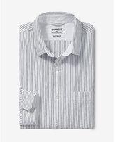 Express soft wash striped button collar shirt