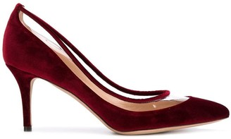 Valentino velvet classic pumps with clear panel