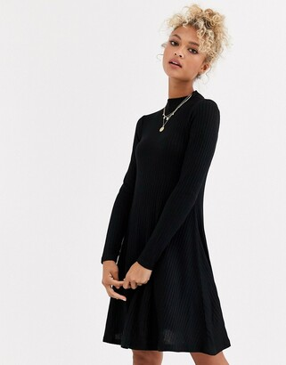 New Look high neck sweater dress in black