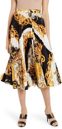 Versace Pleated Barocco Acanthus Print Midi Skirt