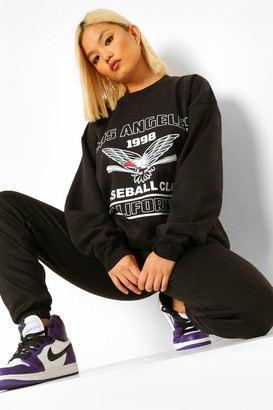 boohoo Petite 'Los Angeles' Oversized Sweat
