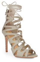 Schutz Nadia Reptile-Embossed Lace-Up Pumps