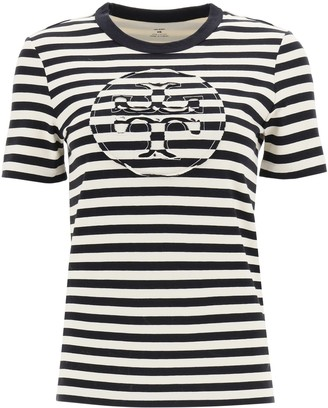 Tory Burch striped t-shirt with logo pocket