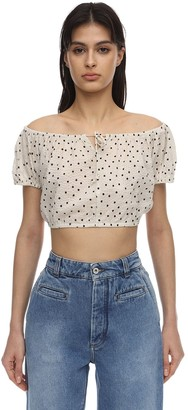 Bec & Bridge Cropped Printed Cotton Top