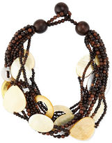 Viktoria Hayman Multi-Strand Wood & Mother-of-Pearl Necklace, Golden