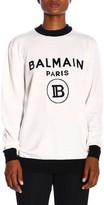 Balmain Sweater Crewneck Sweater With Maxi Paris Jacquard Logo