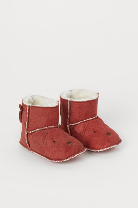 H&M Faux Shearling-lined Slippers - Orange