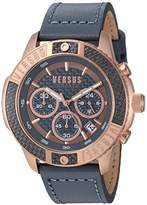 Versus By Versace Men's 'ADMIRALTY' Quartz Gold-Tone and Leather Casual Watch