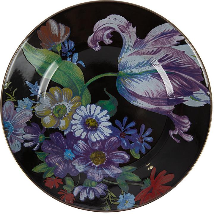 Mackenzie Childs MacKenzie-Childs - Flower Market Enamel Dinner Plate - Black