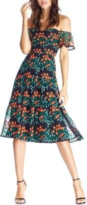 Dress the Population River Embroidered Off the Shoulder Midi Dress