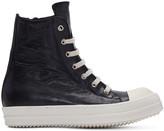 Rick Owens Black Distressed High-top Sneakers