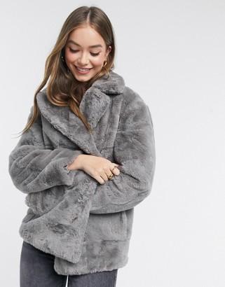 New Look faux fur coat in grey