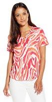 Rafaella Women's Petite Zebra Printed Modal Top
