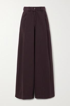 Dries Van Noten Cotton-twill Wide-leg Pants - Plum