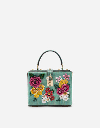 Dolce & Gabbana Dolce Box Bag In Tropea Straw With Embroidery