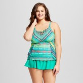 Surfside Women's Plus Size Tribal Stripe Strappy Back Tankini Top Teal - VM