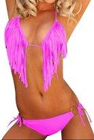 Anvoro Women's Sexy Bandeau Tassel 2 Piece Bikinis Swimsuit Swimwear