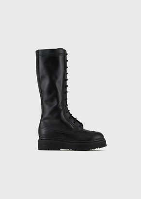 Emporio Armani Lace-Up Leather Boots