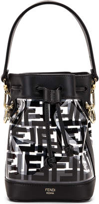Fendi Mini Mon Tresor Logo Crossbody Bag in Black | FWRD