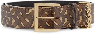Burberry chain detail Monogram print belt