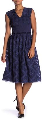 Max Studio Cap Sleeve Pleated Fit & Flare Dress