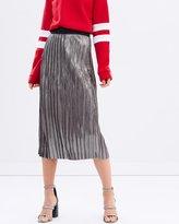 Sass Bristol Pleated Metallic Skirt