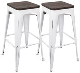 Lumisource Oregon Industrial Barstool With Vintage White Frame (Set of 2) - Espresso Wood