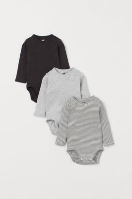 H&M 3-pack Cotton Bodysuits - Beige