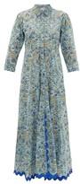 Juliet Dunn Floral-print Metallic-trim Cotton Shirt Dress - Womens - Blue Multi