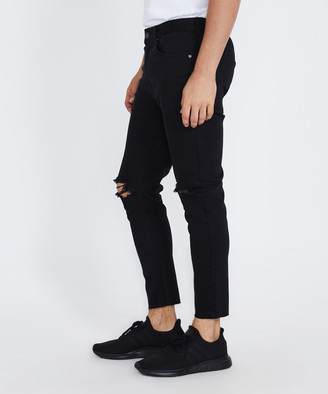 Standard Offset Raw Chop Jeans Flat Back