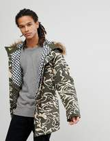 Analog Frazier Ski Parka Jacket Insulated Hooded Detachable Faux Fur Trim In Green Camo